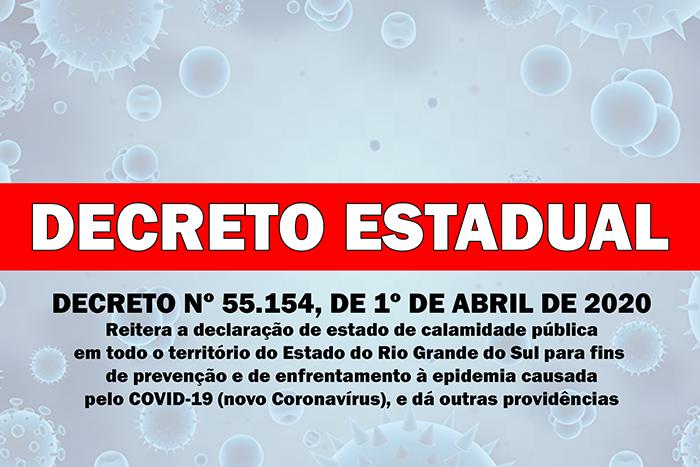 DECRETO ESTADUAL Nº 55.154, DE 1º DE ABRIL DE 2020.