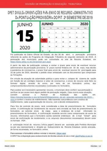 INFORMATIVO PIT 2020