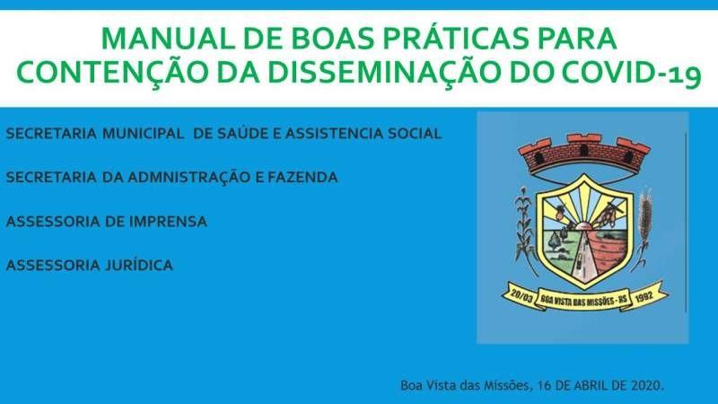 MANUAL DE BOAS PRATICAS PARA CONTENÇÃO DA DISSEMINAÇÃO DO COVID-19