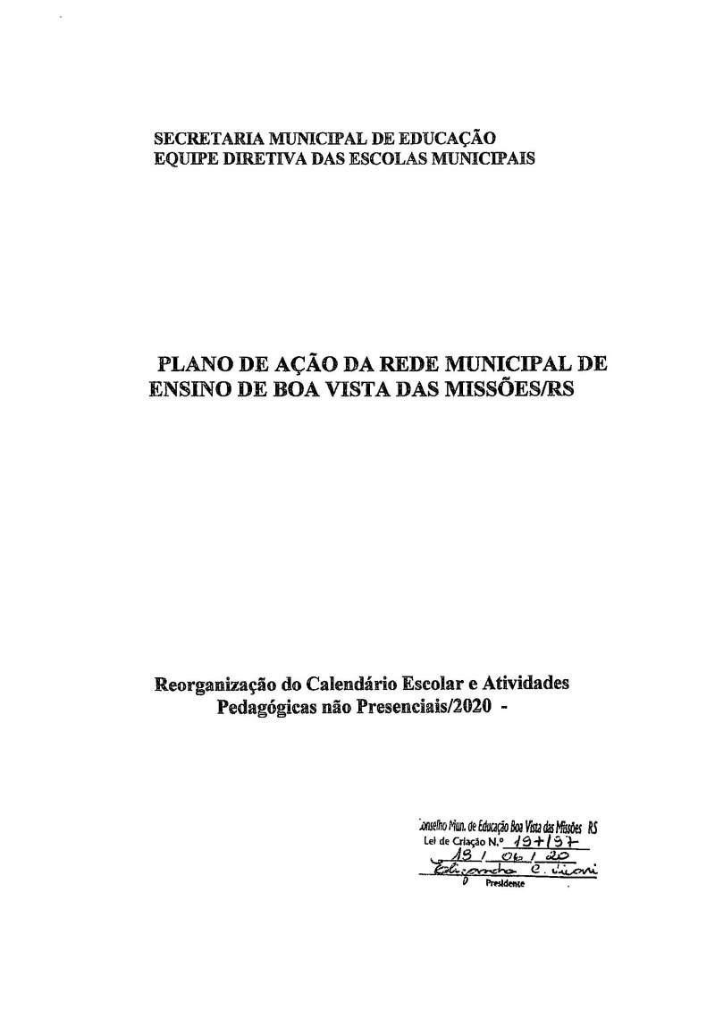 PLANO DE AÇÃO DA REDE MUNICIPAL DE ENSINO DE BOA VISTA DAS MISSÕES